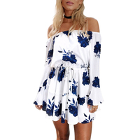 Women Floral Print Dress 2017 Summer Off Shoulder Slash neck Flare Sleeve Mini Dress Fashion Casual Beach Dresses Vestidos
