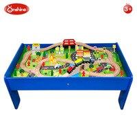 Onshine 90 шт. детский деревянный стол поезд набор строительство парковка для игрушечных паровозов Совместимость с маленький поезд игрушки 3Y +