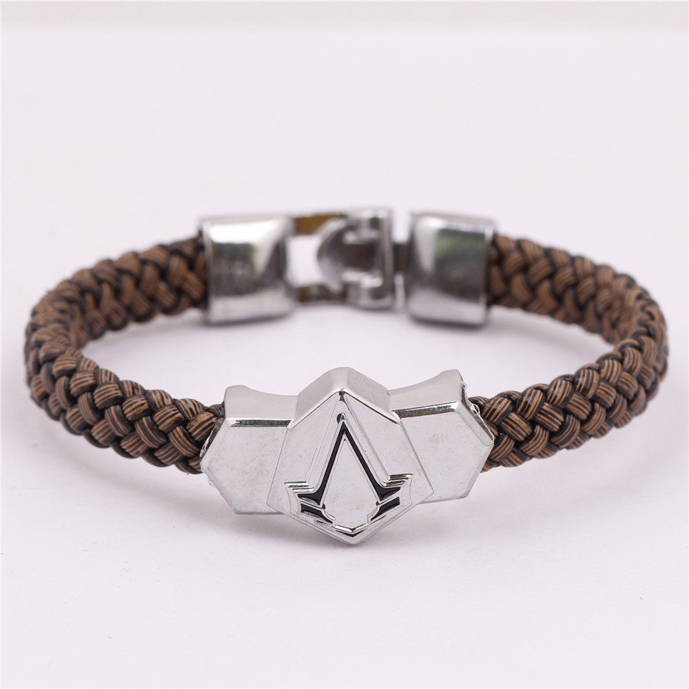 Boho Punk Retro Assassins Creed Syndicate Blade Titanium Bracelets Leather Braided Braclet Pulseras Hombre Joyeria Men Jewelry