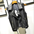 Spring and Autumn loaded new Slim wild belt clip lapel PU leather vest women short paragraph motorcycle jacket Korean wave