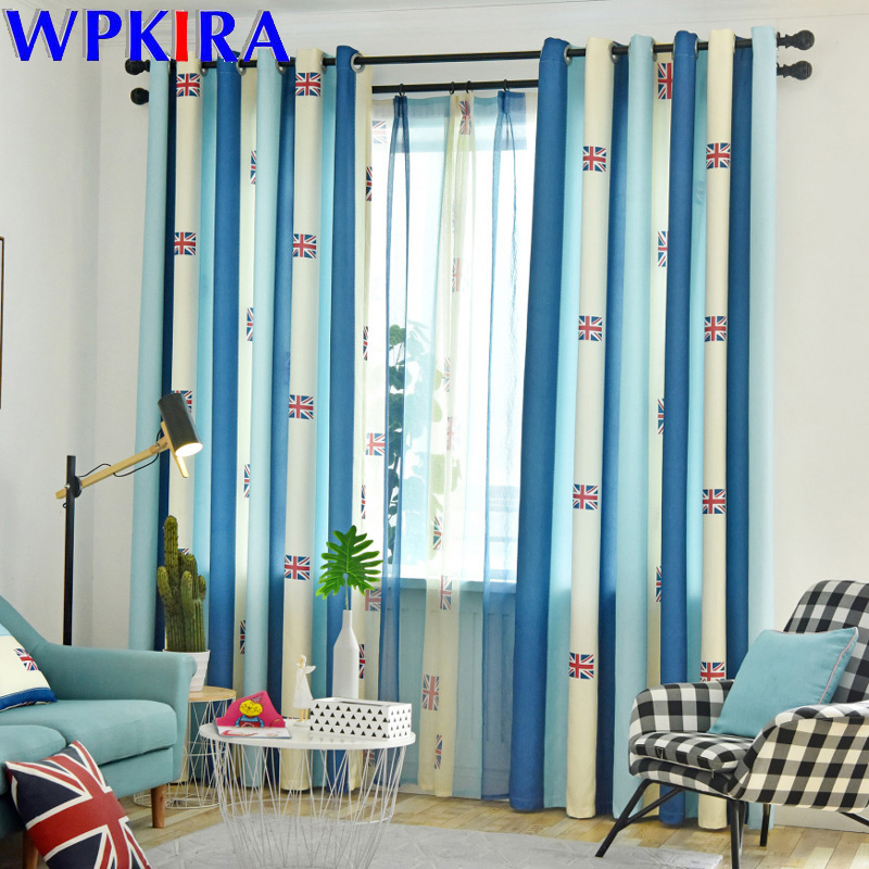 Us 7 62 44 Off Children S Blackout Curtains Boy Uk Flag Blue Striped Printed Tulle For Bedroom Living Room Baby Windowswp339 4 In