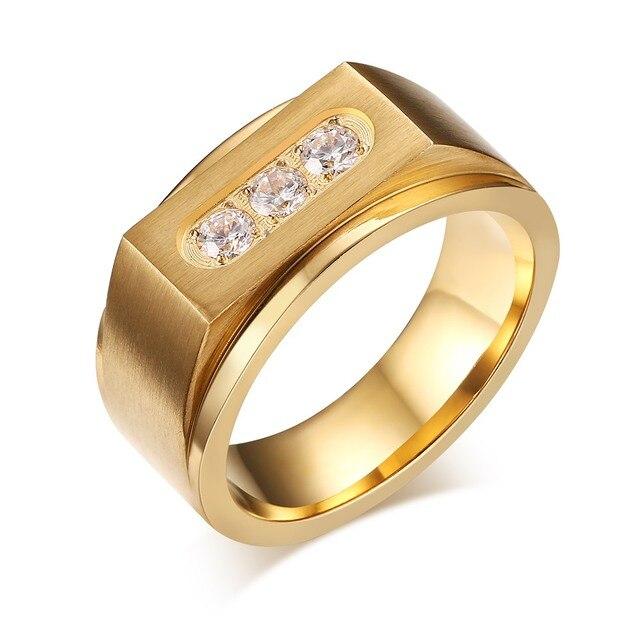 Luxury Three Aaa Cubic Zirconia Ring Mens Signet Rings Gold