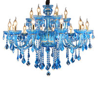 Vintage Crystal Chandelier Blue Light Fixture Large Turkey Style Luxury Wrought Iron Lustre Hanging Crystal Chandelier Light