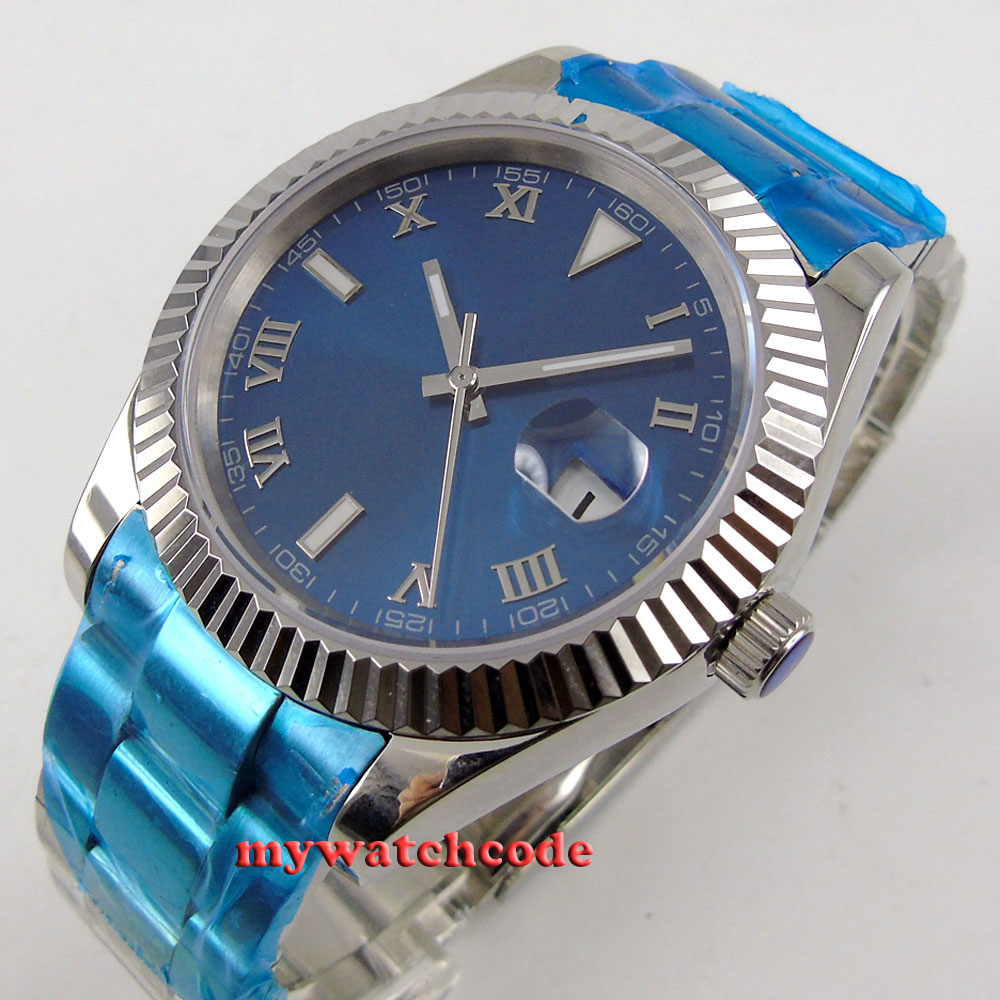 40MM parnis blue dial Roman numeral automatic movement mens watch 333 cms 333 black blue