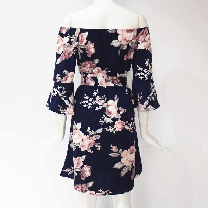 Женское летнее платье 2019 сексуальное с открытыми плечами с цветочным принтом в стиле бохо шифоновое пляжное платье Короткие праздничные платья с поясом