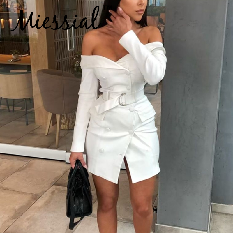 Miessial White Off Shoulder Bodycon Blazer Dress Women Long Sleeve Belt Elegant Party Dress Female Autumn Winter Sexy Club Dress