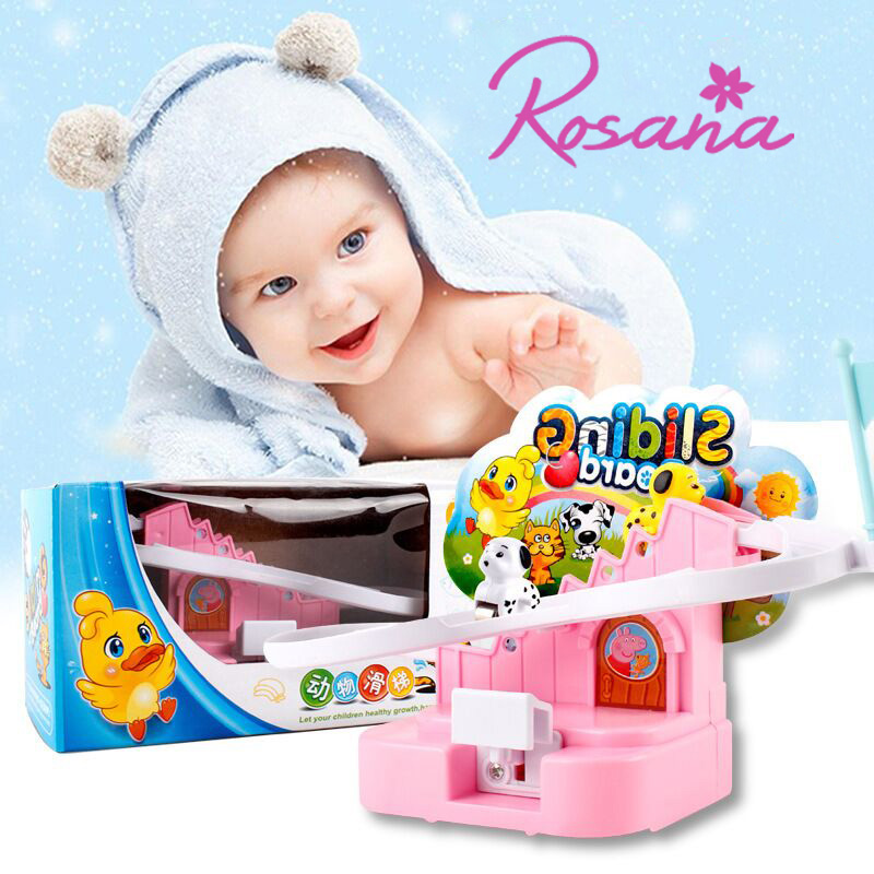 Rosana Child Model Racing Toys Manually Pressing the Rotary Slide Stairs Climb Stairs Track Game Car Kids Funny Surprise Gifts
