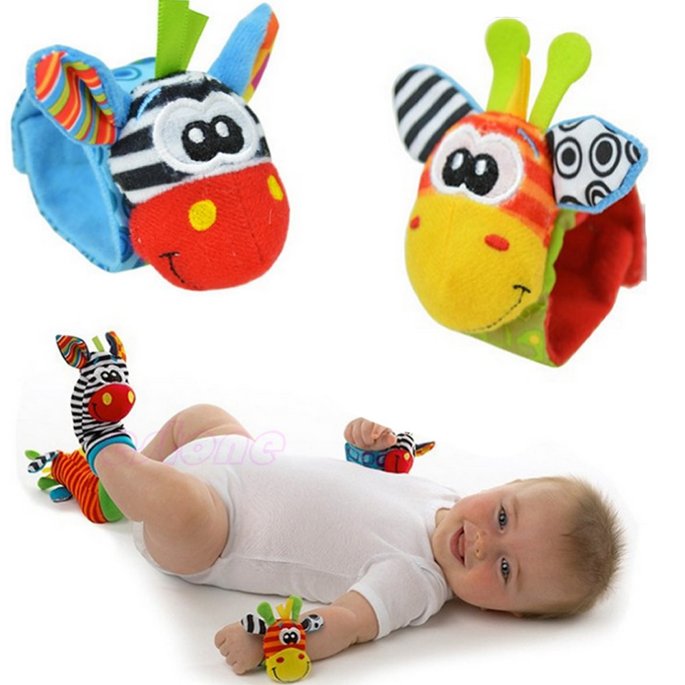 Infant Baby Kids Boy Cute Animal Hand Wrist Bells Foot Sock Rattles Soft Toys %328/319