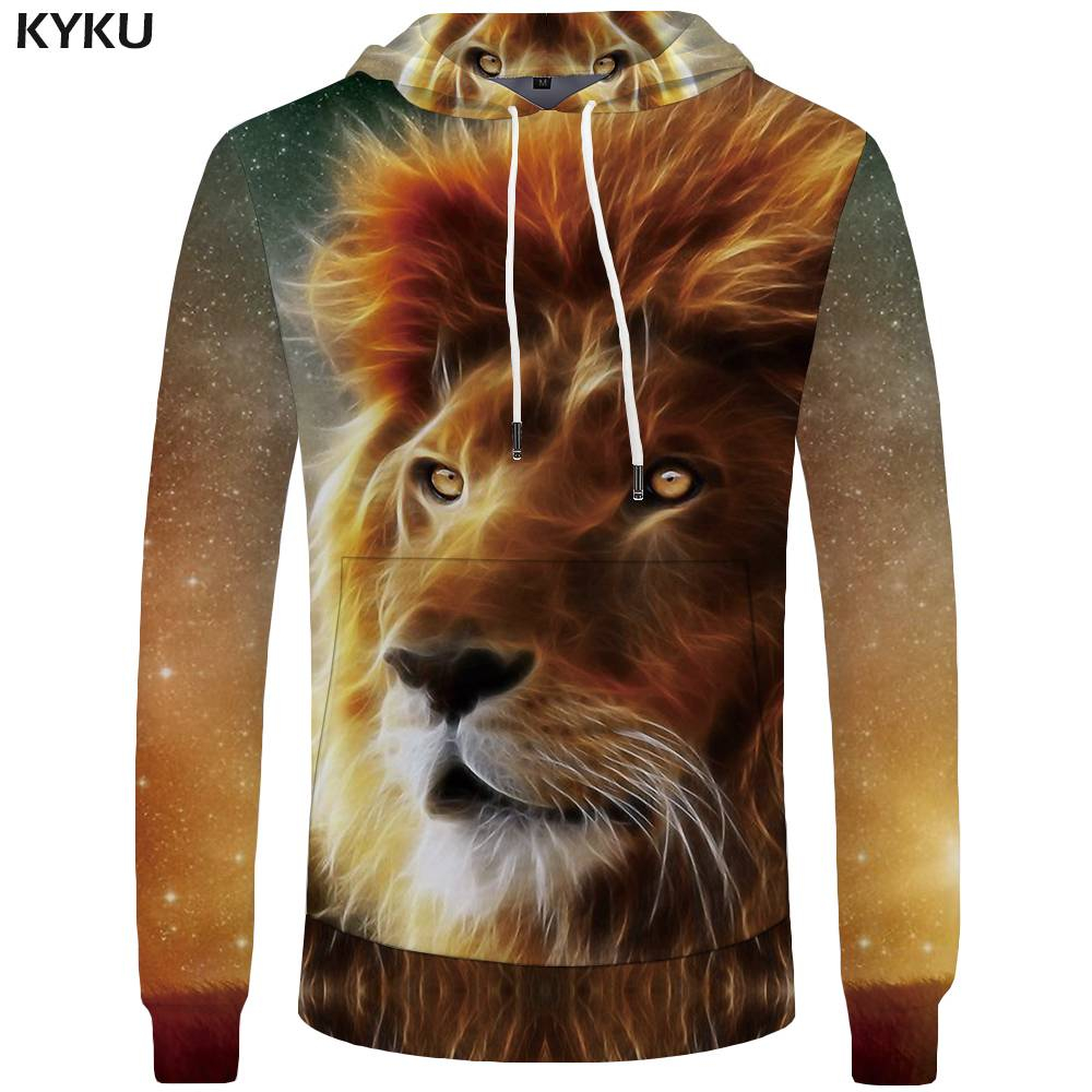 KYKU Brand Lion Hoodies Men Galaxy Big Size Space Sweatshirt Mens Clothing Pocket Hoddie 3d Hoodies Hood Sweat shirt Print
