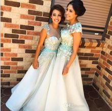 2016 Mint Green Chiffon Long Bridesmaid Dresses A Line With Flower Appliques Beaded Wedding Party Dress Bridesmaid Gowns C72