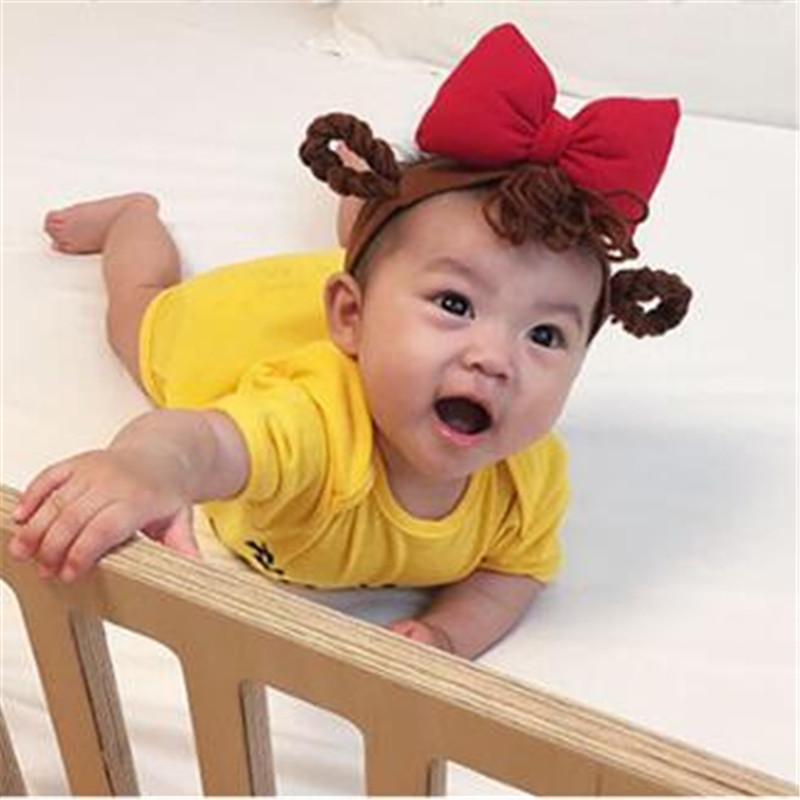 Small Girls Big Bow Wig Headband With Pigtail Newborn Bebe Hair Accessories Elastic Hair Bands Cute Baby Girls Headbands