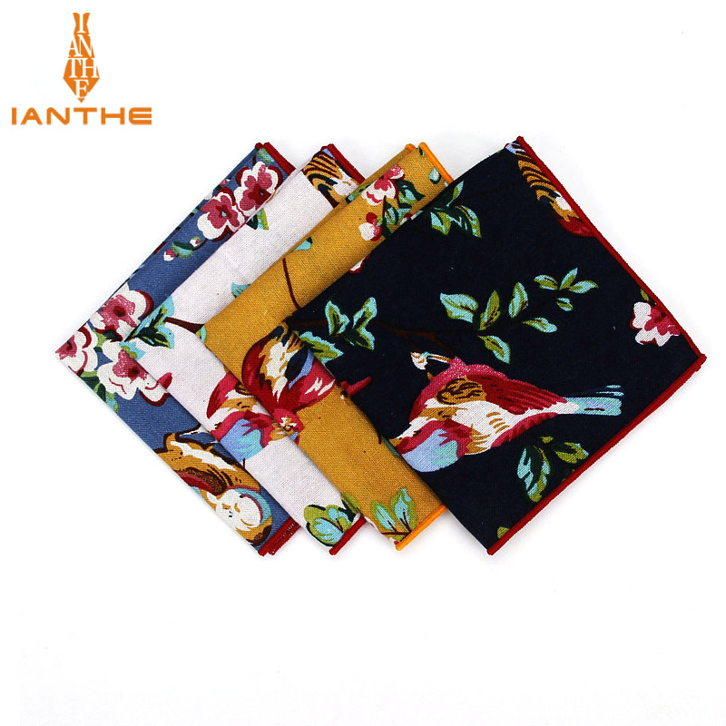 Brand Men Suits Linen Handkerchiefs Flower Floral Vintage Pocket Square Hankies Men's Business Casual Square Pockets Hanky Towel