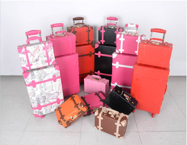 Vintage PU trolley travel bag travel box red married font b luggage b font suitcases female