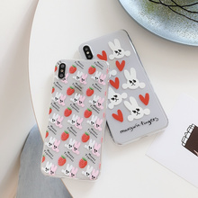 Strawberry rabbit transparent case phone on for coque iphone 8plus 7 6 s plus xr xs max cute love heart rabbits soft cover i10