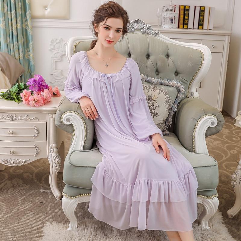 Autumn Long Sleeve Elastic Cuff Garden Dress Home Nightwear Women   Nightgowns     Sleepshirts   Lady Nightdress Ladies Sleepwear 0288#
