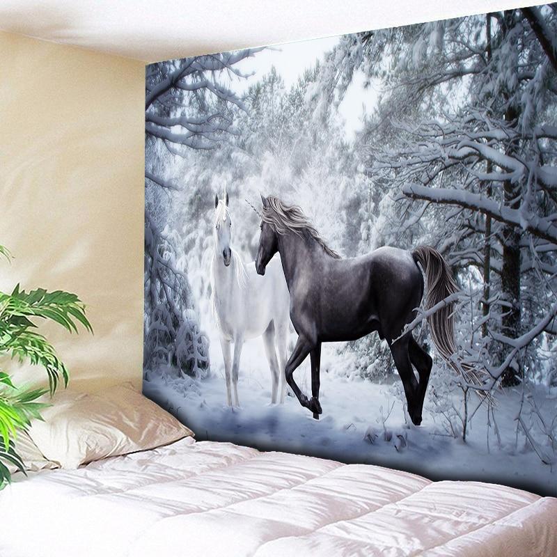 Украшение с изображением снега единорога, гобелен на стену, фоновая ткань, Рождественский психоделический Настенный Ковер, палатка для кем...