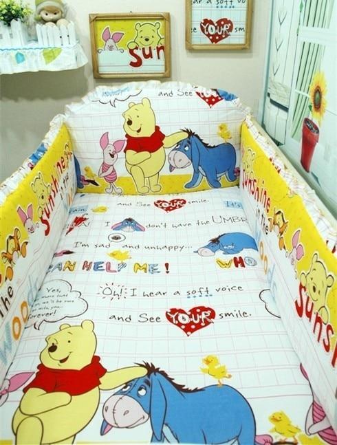 Promotion! 6pcs  Baby Sheet Crib Bedding Set Cot Bumpers Suits Baby Bedding Sets,include (bumpers+sheet+pillow Cover)
