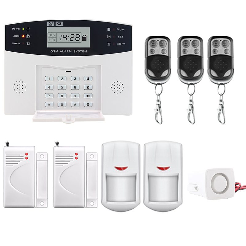 Saful LCD Display Wireless GSM Alarm System SMS Smoke Sensor Home Security Alarm System Russian/English/Spanish/French voice russian french spanish voice quad band gsm home security alarm system gsm sms intercom lcd display with door security sensor