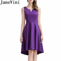 JaneVini Purple Evening Dress Soiree Simple Hi Lo Women Sleeveless Formal Party Gowns Satin V Neck Special Occasion Midi Dresses