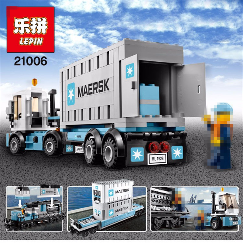 Lepin 2017 New  21006 1234Pcs Technic Series Maersk Train Model Building Kits  Blocks Bricks Compatible Toys Gift free shipping lepin 21002 technic series mini cooper model building kits blocks bricks toys compatible with10242