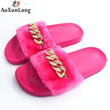 AoXunLong Women Slides 2018 New Furry Slippers Diamond Chain Flip Flops Women Tongs Femme ete Chanclas Mujer Pantoufle Femme Hot(China)