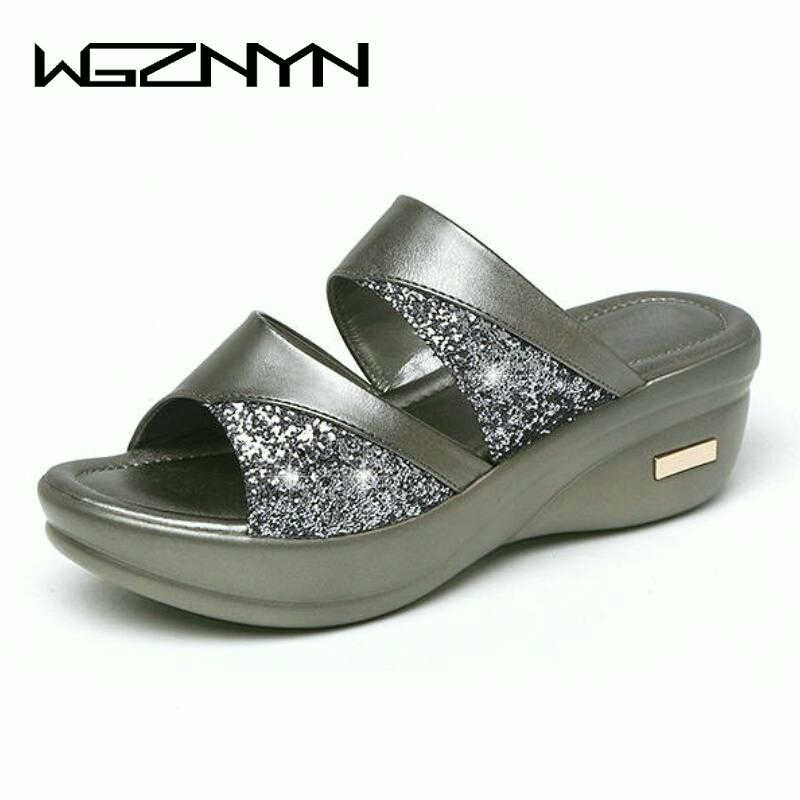 Sequins Mid-heeled Slippers New Mother Shoes Woman Leather Sandals Women Soft Bottom Slippers Female Summer Outdoor Shoes W305 1