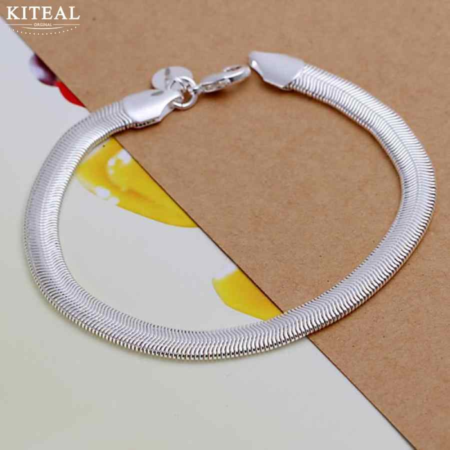 925 jewelry Gold color silver plated jewelry bracelet fine fashion 6mm 20.5cm Flat Soft Snake Chain wholesale &retail SMTH164