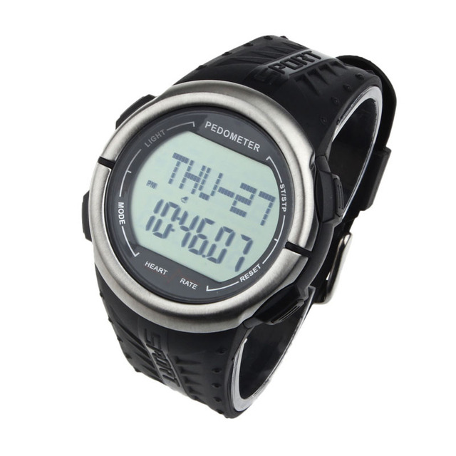 Waterproof Digital Watches 3D Pedometer Calories Counter Pulsometer Heart Rate Monitor LED Sport wristwatch wholesale