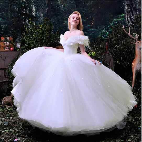 Cinderella Wedding Evening Dress Organza Princess Bridal Gowns Ball Cocktail