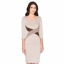 FD3516 Lady Career 3/4 Sleeve Pencil Dress Vestidos Robe Cross Color Block Patchwork Slim Waist Knee Length OL Fashion Dresses