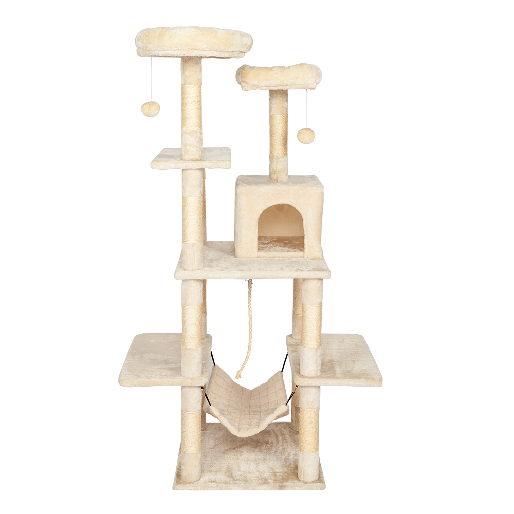 60 Cat Tree Tower With A Condo Two Platforms Sisal Scratching Posts And Hammock Pet House Furnifure Cat Activity Tower