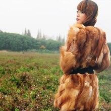 女性の冬の厚い本物のキツネの毛皮のコートのパッチワーク段階的なカラーロングコートナチュラル本物のキツネの毛皮ベストジャケットのための女性 100%