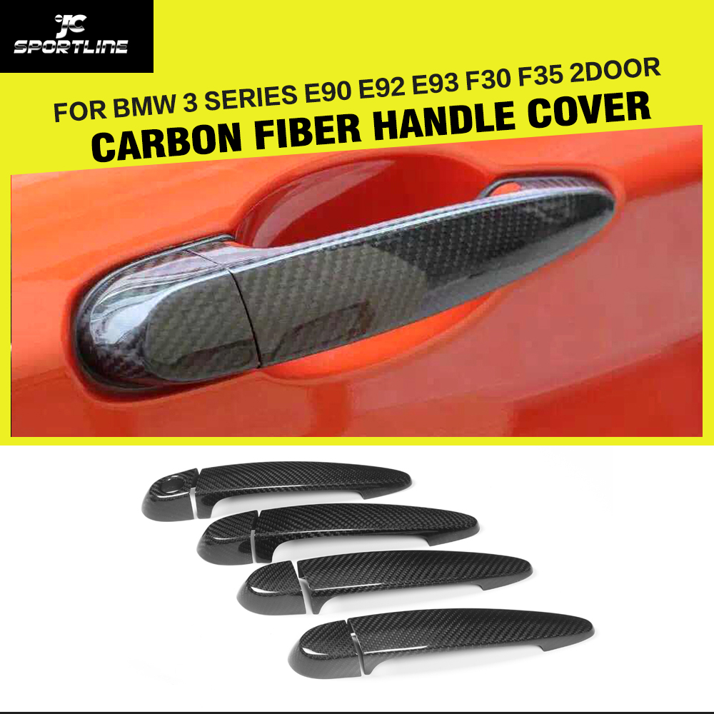 Carbon fiber Car Stickers Side Door Handle Covers Trim for BMW 3 Series E90 E92 E93 F30 F35 2005-2015 With / Not LED