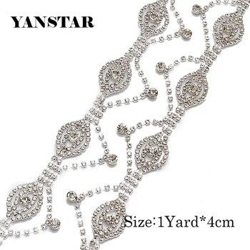 YANSTAR 10Yard Handmade Rosegold silver crystal Rhinestone Cupchain Hotfix For Wedding  Belt For Bridal Accessory YS969