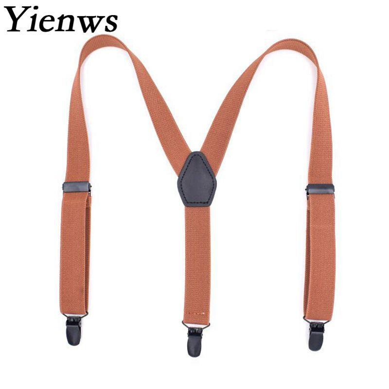 Yienws Suspenders for Boys Baby Y-back Strap Braces Children 3 Clip-on Pants Suspenders Kids Brown Black Navy YiA087