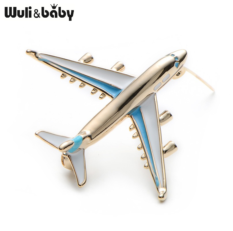 Alloy Airplane Brooch Pin Enamel Red Blue Plane Luxury Brand Brooches - Perhiasan fesyen - Foto 2