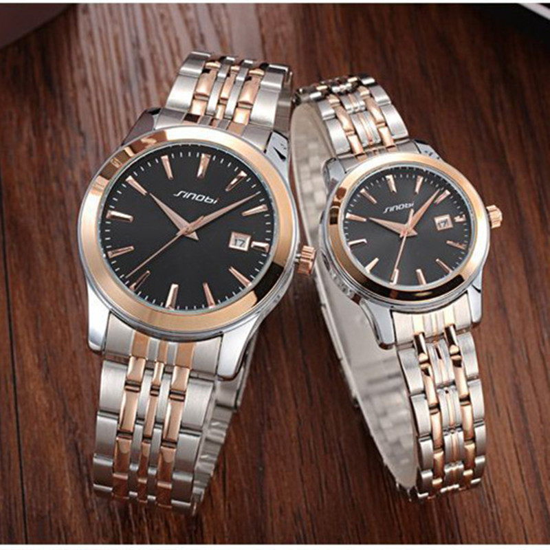 Clock 2017 SINOBI Luxury Wrist Watch Women Men Lover Quartz Watch Reloj Mujer Ladies Watches Women Waterproof Relogio Masculino