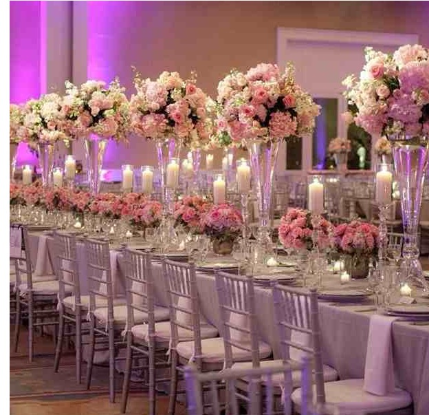Crystal And White Wedding Theme: Iron Mental Vase Centerpieces For Wedding Table Decoration