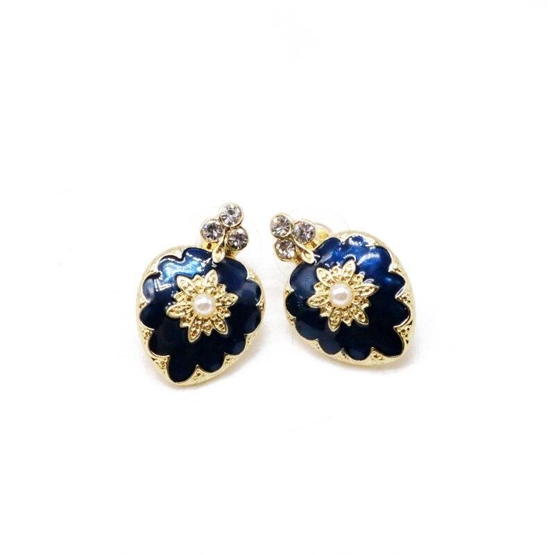 b10df54b5d US $2.85 |Free Shipping Navy Blue Enamel Cute Flower Earring-in Clip  Earrings from Jewelry & Accessories on Aliexpress.com | Alibaba Group