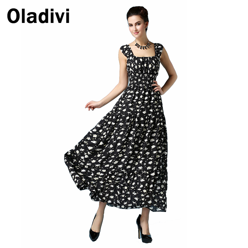 2016 Summer Fashion Floral Printing Chiffon Dress Women Sleeveless Slim Waist Maxi Long Sundress Femininos Longo Vestidos S M L - Oladivi official store