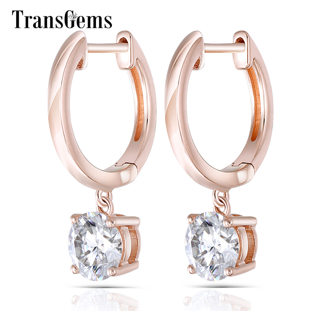 Transgems Geuine 14K Rose Gold Round  5mm F Color Moissanite Drop Earrings for Women Ladies Pink