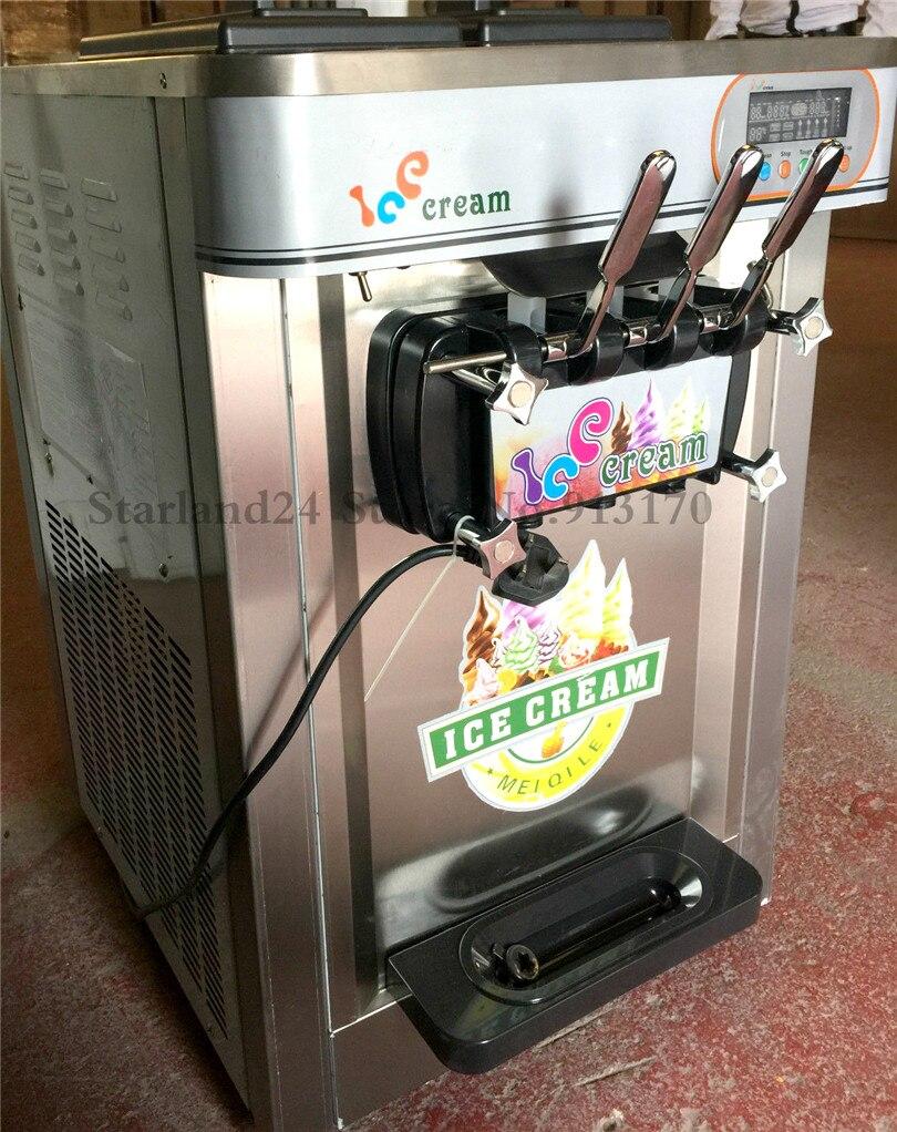 Commerciële Ijs Machine 3 Heads Desktop Kleurrijke Rvs Soft Ijsmachine 22 ~ 25 Liter/H 220 V - 2