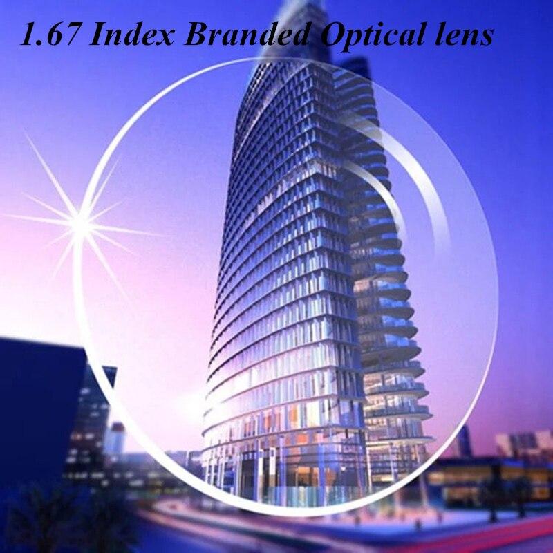 Super dur 1.67 lndex Ultra-mince lentilles myopie lentilles transparentes marque clair optique Prescription lunettes monture lentilles