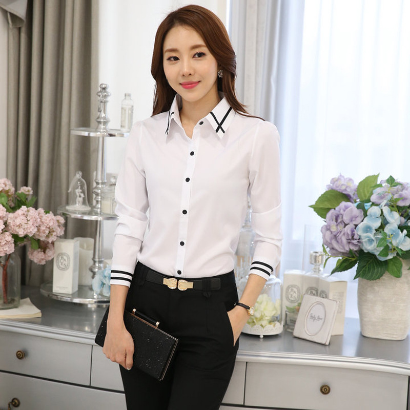 New 2019 Fashion Korean Long Sleeve Button Office Lady Shirt Summer Autumn Women Slim White OL Work Blouse S-5XL Plus Size Tops