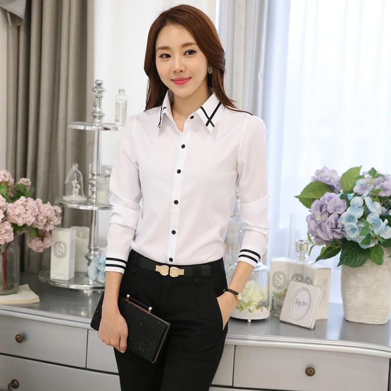 New 2019 Fashion Korean Long Sleeve Button Office Lady Shirt Summer Autumn Women Slim White OL Work Blouse S-5XL Plus Size Tops