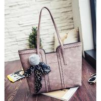 Coofit Tote Bag Women's Handbag Vintage Shoulder Bag Tote Bags With Ribbon And Pompom Ball Decor Large Capacity Thread handbags