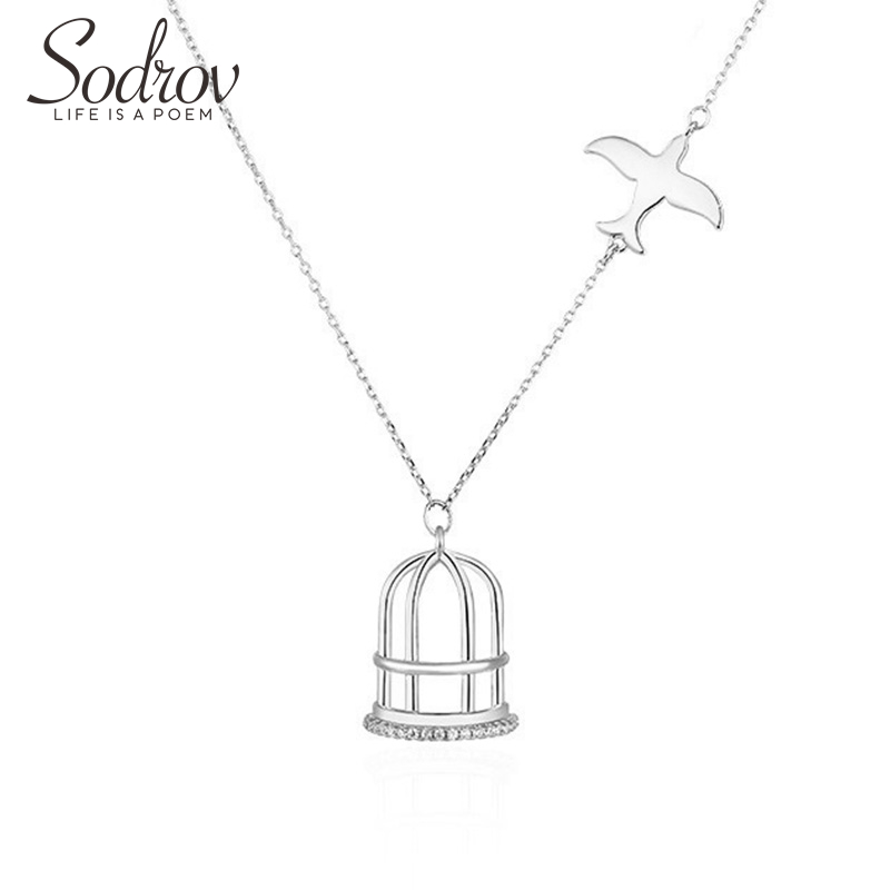 Sodrov Jewelry Necklace Pendant Collier Silver Female Collares Link Chain Women Animal Fine Party Bird&Cage