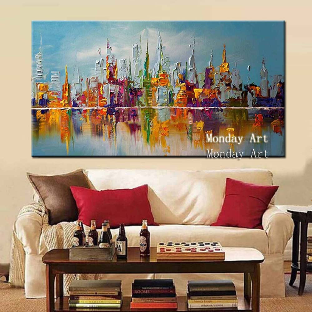 Handpainted-Abstract-Knife-Oil-Paintings-on-Canvas-Home-Decor-Wall-Art-Pictures-Large-Colorful-Graffiti-City (1)