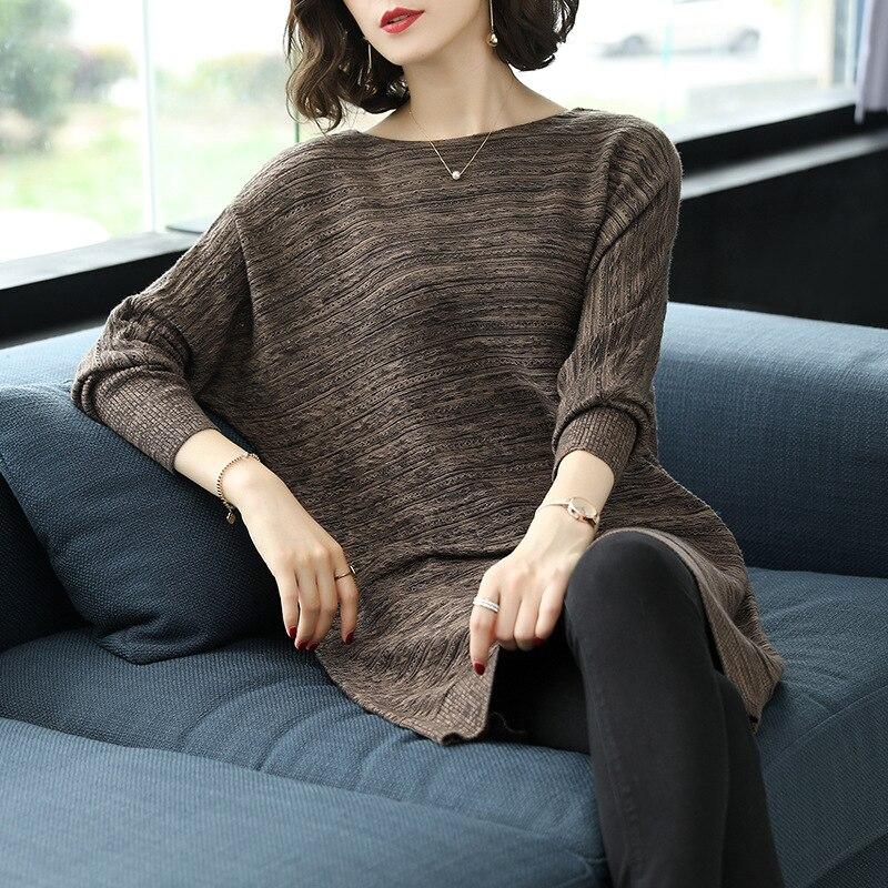 as Coréen Femmes Longues As Rayé Chandails Mode Automne Vêtements Pullove Taille cou Picture Lâche Manches Picture Femelle Printemps 2019 Pullover Hiver O À 1qAx55wa