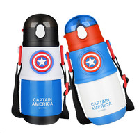 300ML 360 Degree LeakProof Baby Straw Cups Marvel America Captain Stainless Kids Training Water Cups Bottles With Handle